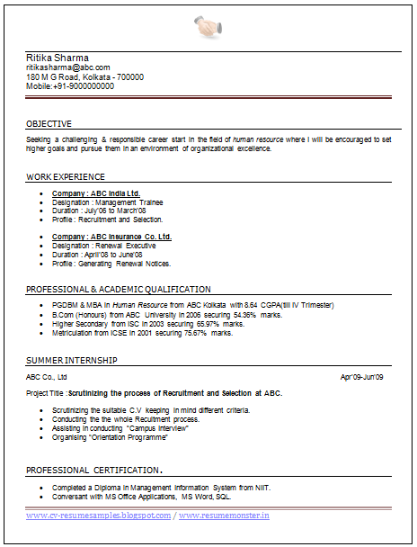 Resume Format for MBA Finance Fresher Template net