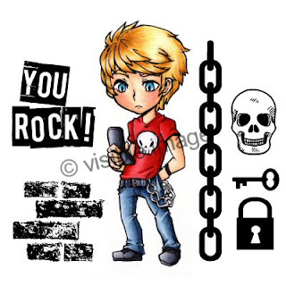 Visible Image stamps teenage character stamp manga boy skull chain