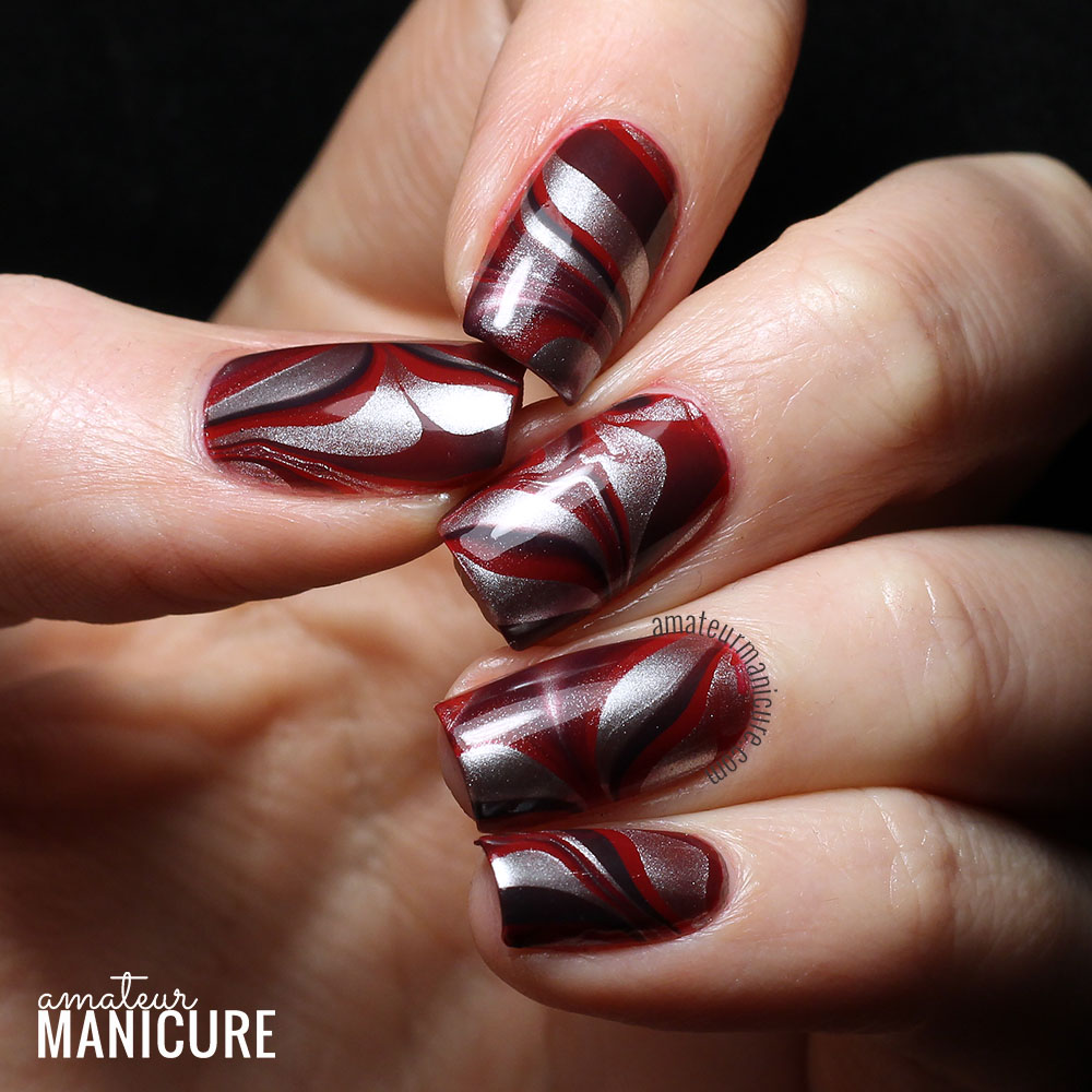 Amateur manicure a nail art blog silky red water marble silky red water marble solutioingenieria Image collections