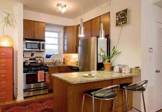 Cocinas en pequenos ambientes espacios reducidos diseno for Cocinas modernas para apartamentos pequenos