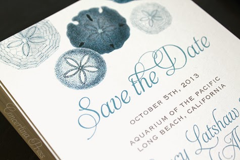 Blue Sand Dollar Nautical Save the Dates by Concertina Press
