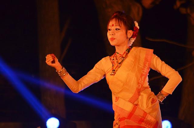 Bihu dancer at Rongali Bihu festival in Bangalore (photo - Jim Ankan Deka)
