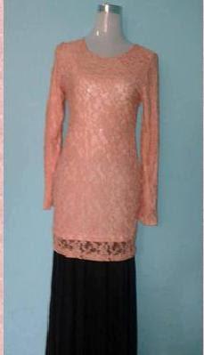 Baju Kurung Lace - Pink Belacan