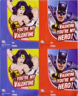 Wonder Woman and Batman cards from the Justice League Valentine Candy Card Kit