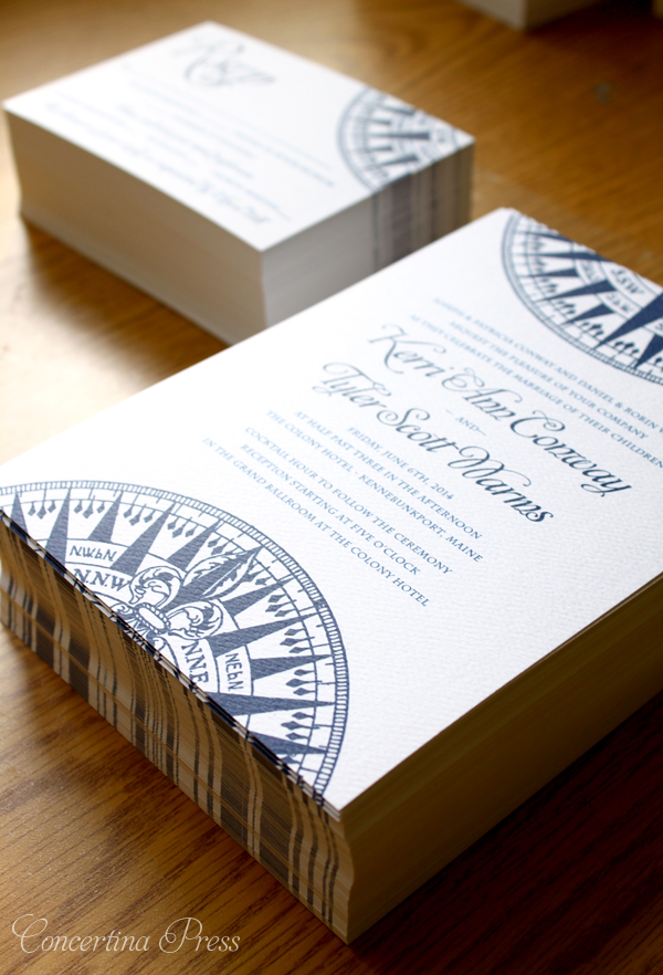 Nautical Compass Wedding Invitations for a Kennebunkport Maine Wedding