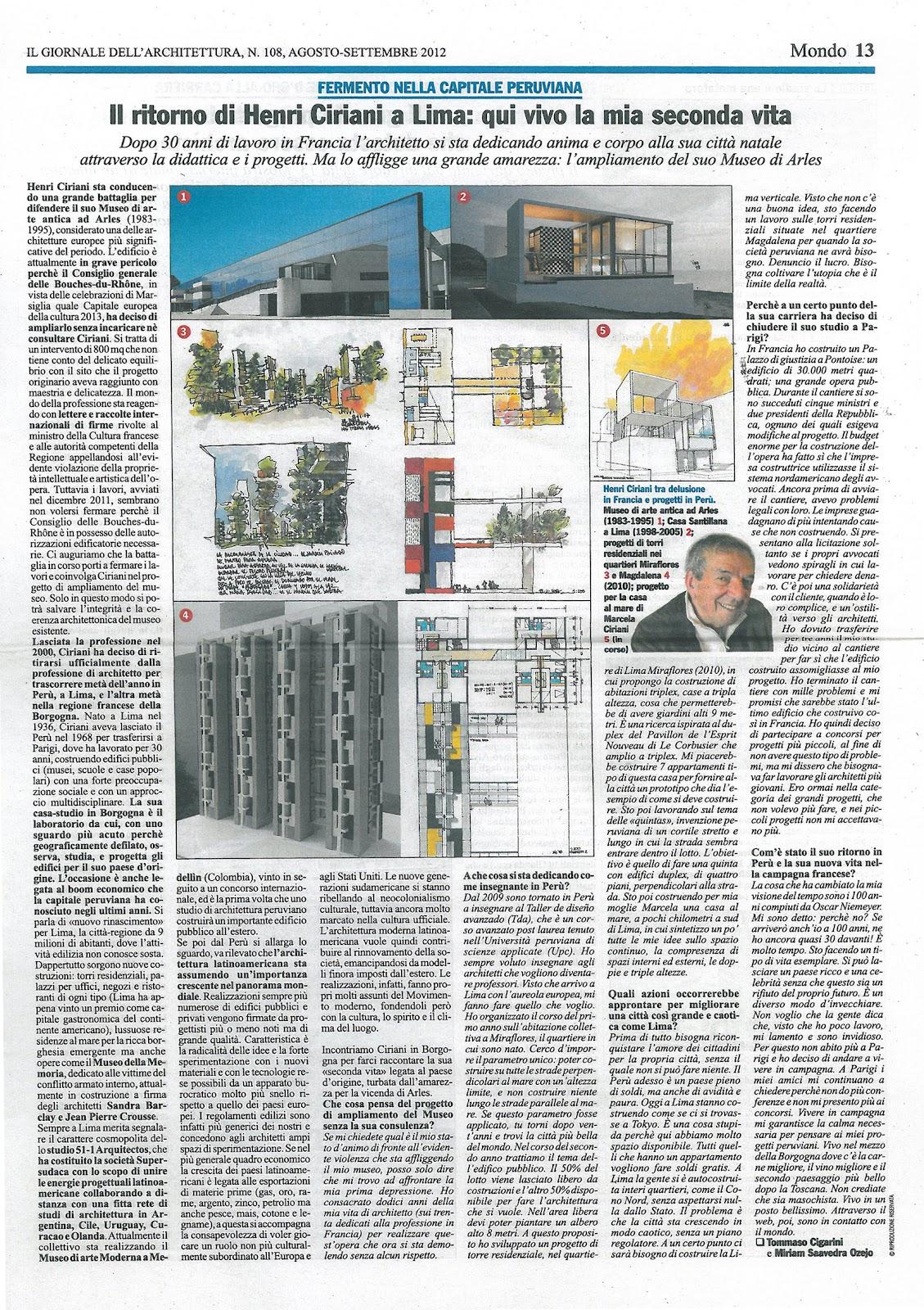 Henri ciriani il giornale dell 39 architettura 108 ag sep 2012 for Giornale architettura