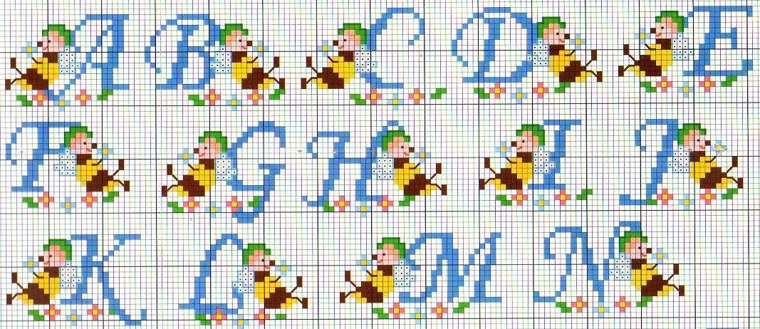 Schemi punto croce alfabeto bambini gn52 regardsdefemmes for Lettere alfabeto punto croce per bambini