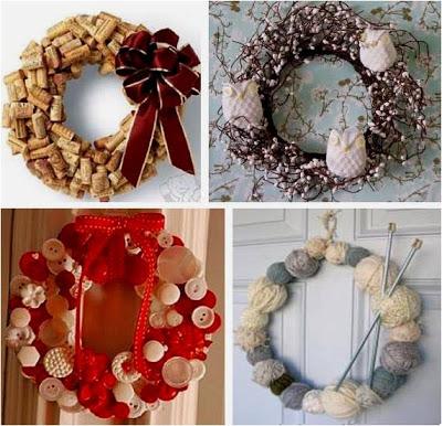 Guirlandas de Natal feitas com rolhas, arames, botões e novelos de lã