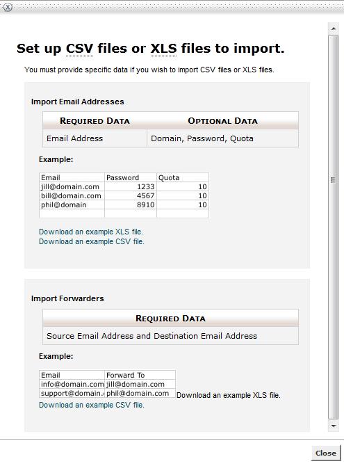 halaman panduan import email dan contoh file yang dapat di download - anekahosting.com