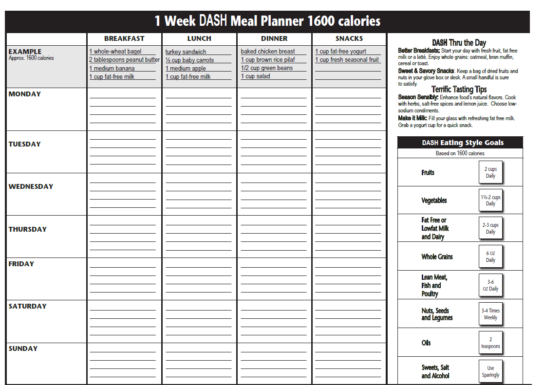 calorie diary template