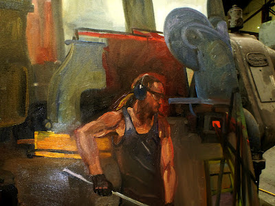 oil painting of blacksmith from 'Wrought Artworks' at the Australian Technology Park, Eveleigh Railway workshops by industrial heritage artist Jane Bennett