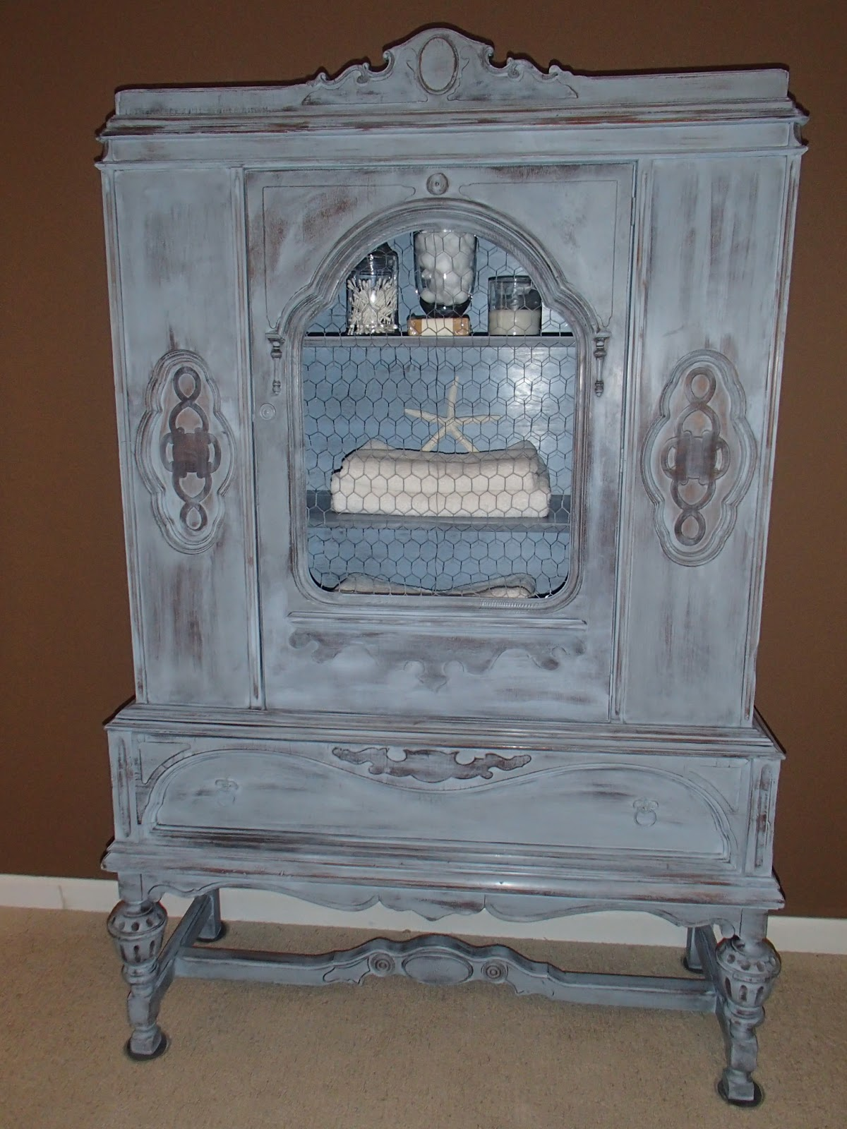 New Again Louis Blue Antique China Cabinet