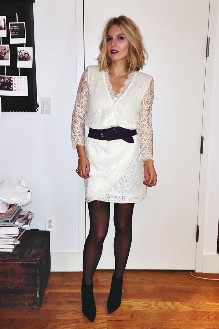 Fashion Over Reason NYE party dress, New Year's eve, Zimmermann white lace dress, Stuart Weitzman booties