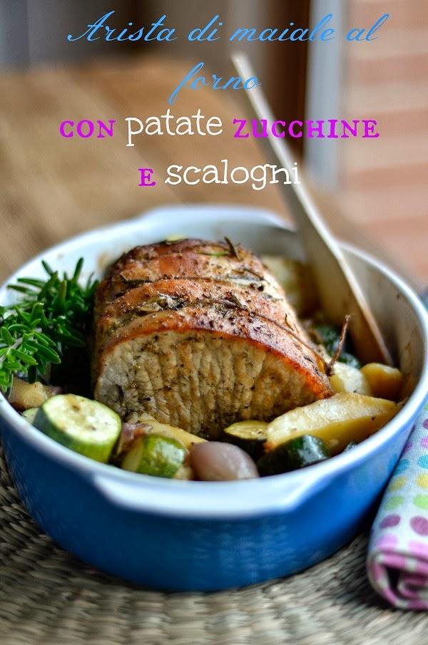 arista di maiale al forno con scalogni patate e zucchine