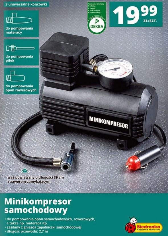 Minikompresor samochodowy z Biedronki 2014 ulotka