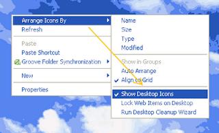 Menyembunyikan dan Menampilkan Icon di Desktop