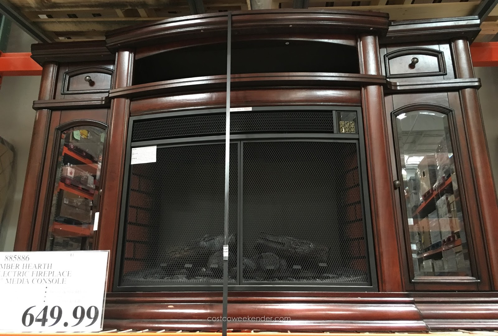 ember hearth electric media fireplace costco weekender