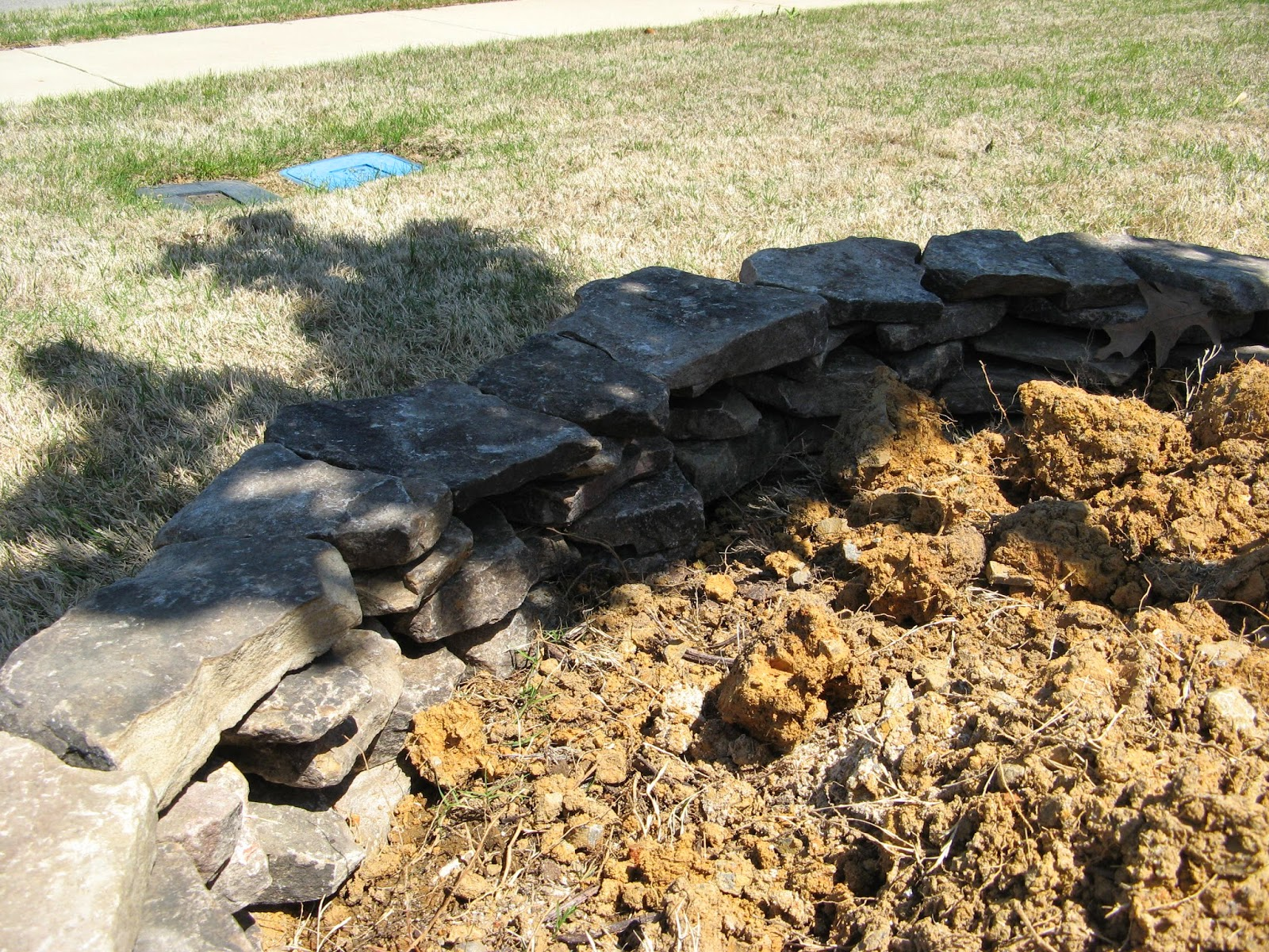 DIY Stacked Stone Landscape Border - before mortar is applied