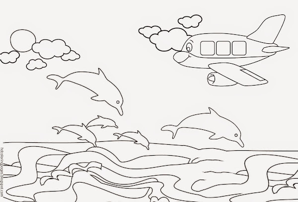 Beach with Dolphin Coloring Pages for Adults