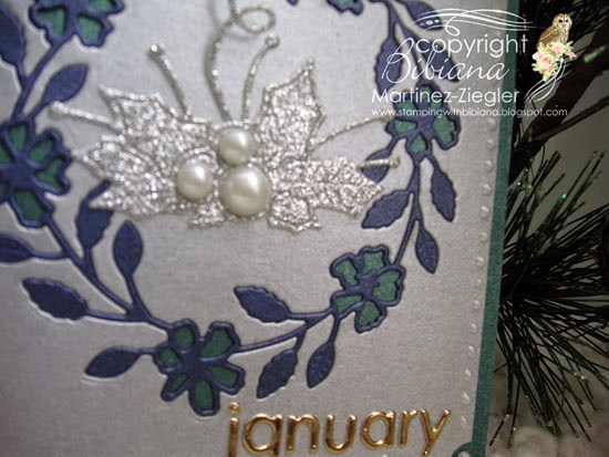 wreath card for New year detail