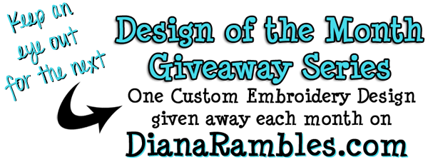 Embroidery Design of the Month Giveaway