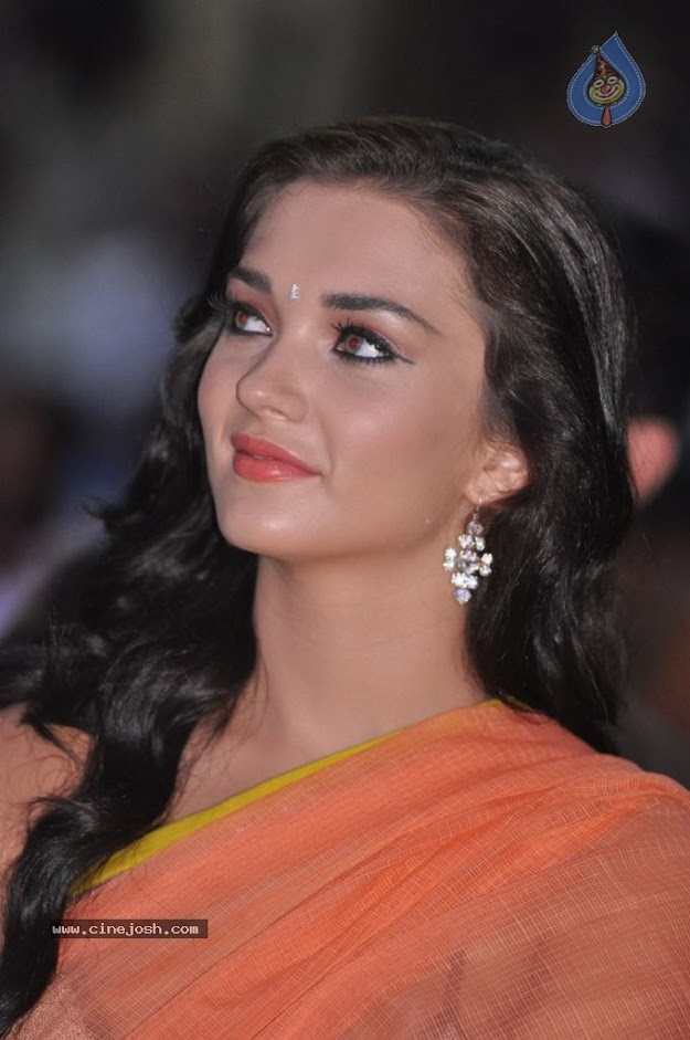 Amy Jackson in orange transparent saree - (7) -  Amy Jackson in Orange Transparent Saree at event