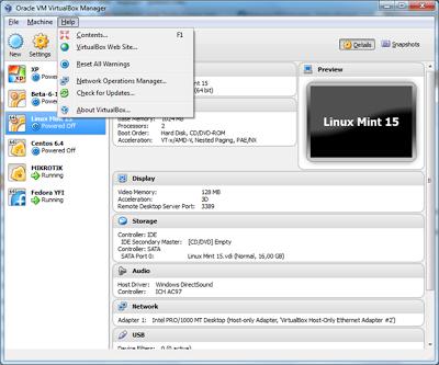 virtualbox menu help
