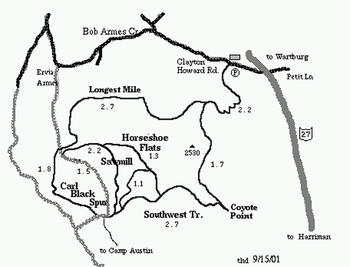 the only trail that is designated as hikers only is the trail that runs across the summit of lone mountain that trail does not appear on an online map