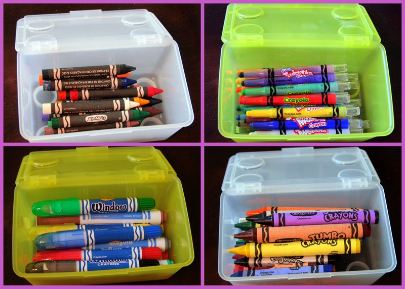 I Put Like Items In The Small Boxes   Regular Crayons, Large And Jumbo  Crayons, Dry Erase Crayons And Window Markers.