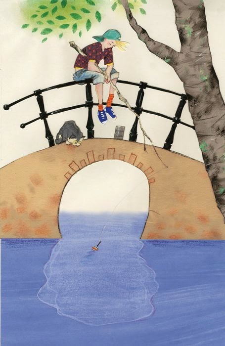 boy and his cat fishing on a bridge illustration by Robert Wagt