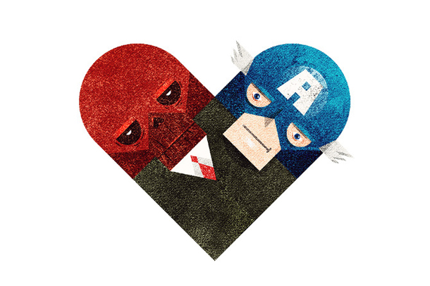 Versus/Hearts by Dan Matutina - Red & Blue
