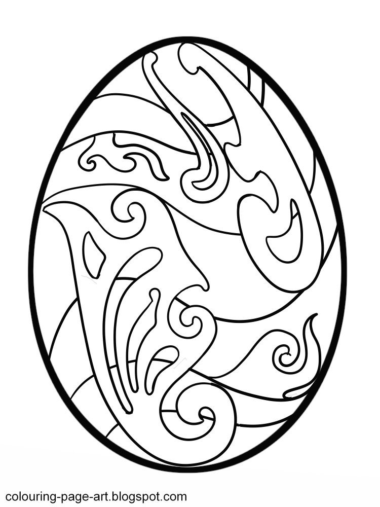 Curlicue Easter Egg Colouring Page