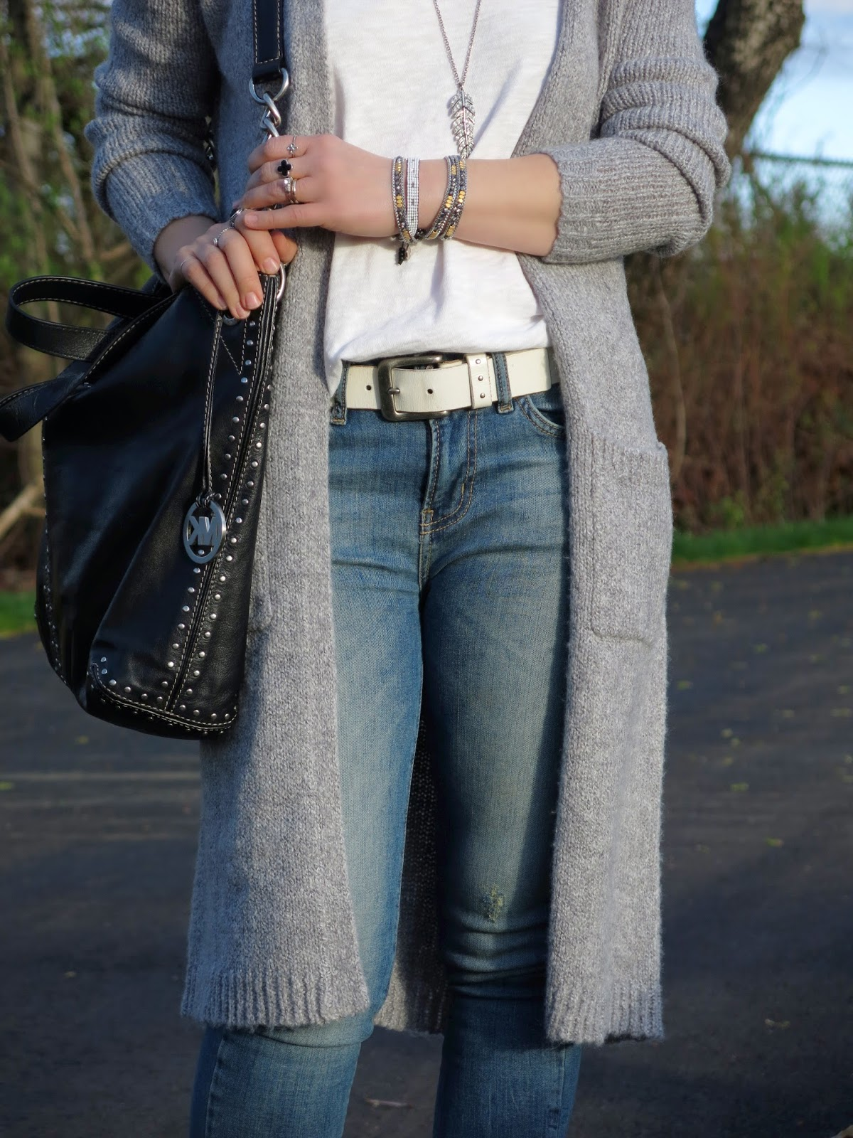 long grey cardigan and Michael Kors bag