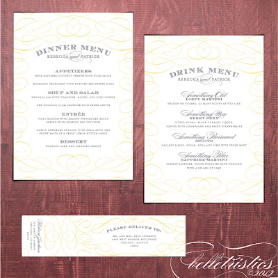 typographic printable diy yellow gray wedding reception dinner menu drink card template