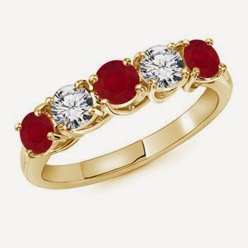 Ruby and Diamond Classic Wedding Band at Angara