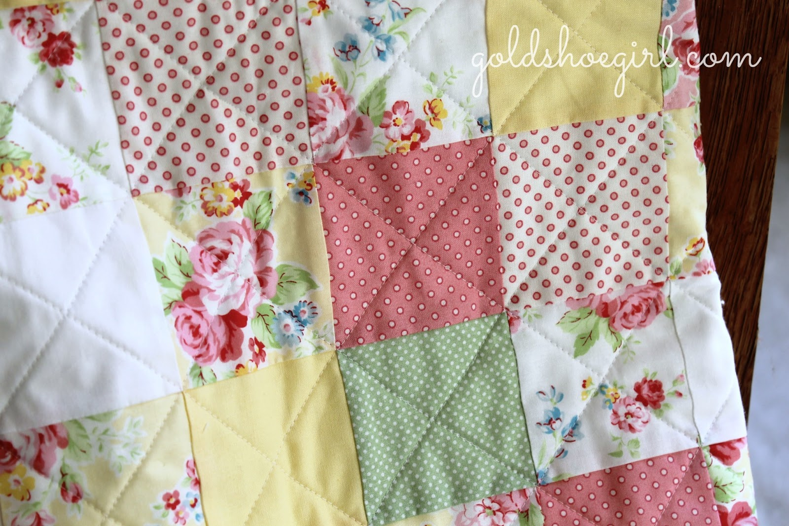 Also finished another baby quilt with the same set of fabrics but