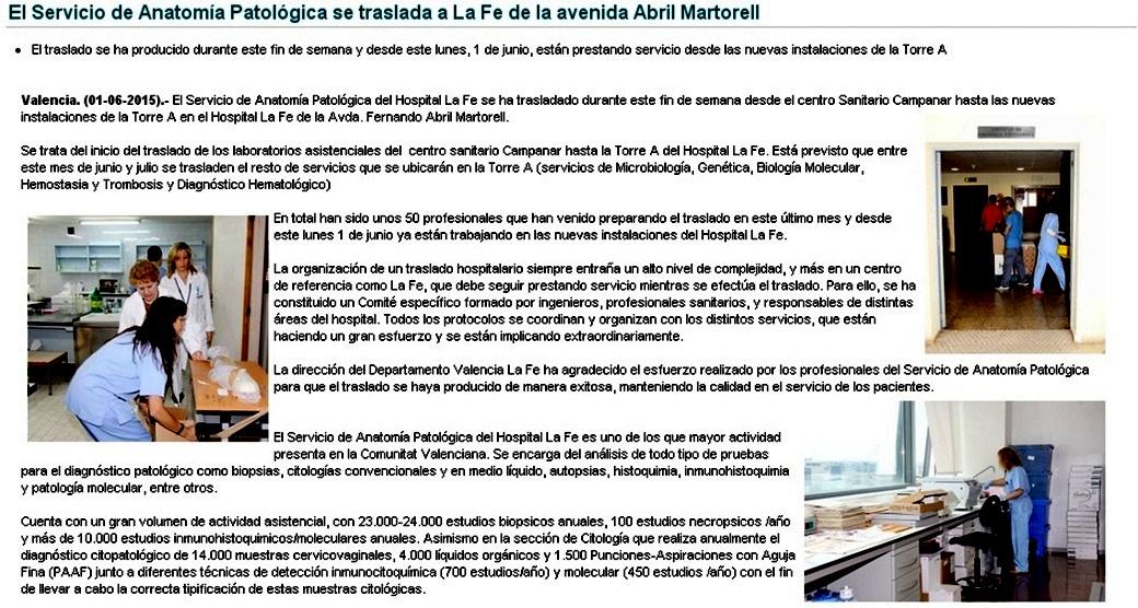 EL SERVICIO DE ANATOMÍA PATOLOGICA DE LA FE DE CAMPANAR TRASLADADO A ...