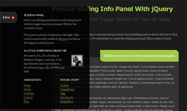 A Sexy Vertical Sliding Panel Using jQuery And CSS3