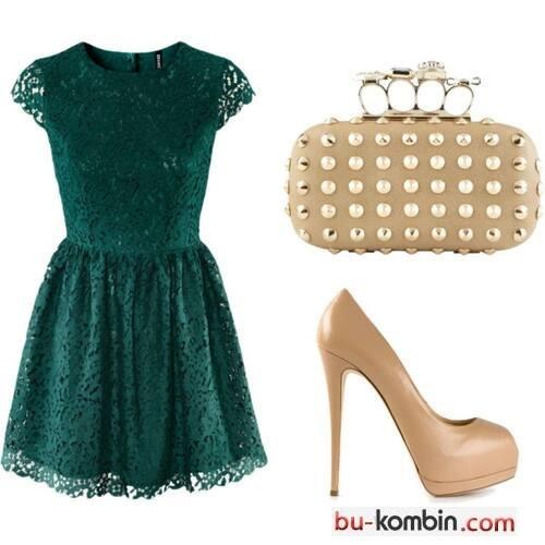 Yeşil Mini Elbise Ve Kombini Ayakkabı çanta Bukombin Moda Trend