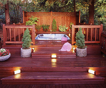 Deck design ideas outdoor deck lighting ideas to choose from for Garden decking and hot tub