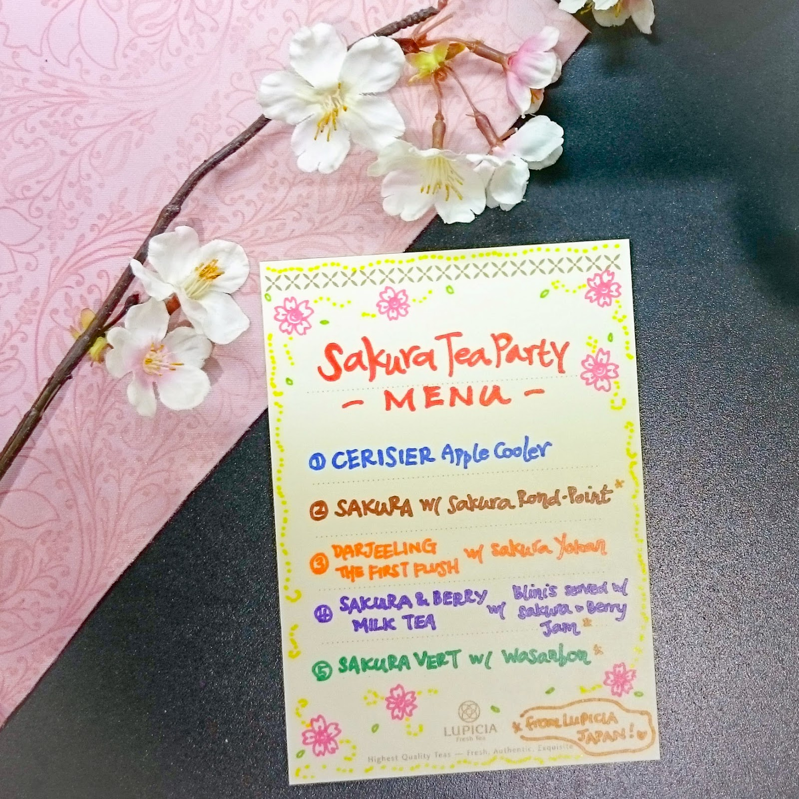 Sakura Tea party menu