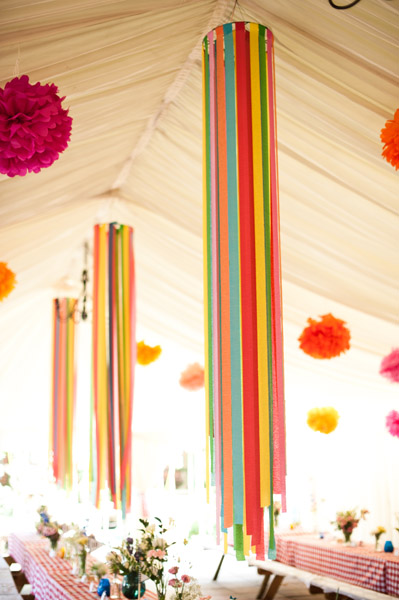 These beautiful crepe paper streamer chandeliers are from a wedding featured