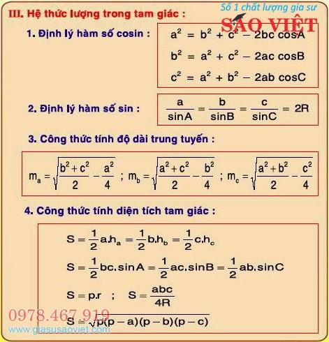 4 hệ thức lượng trong tam giác: định lý hàm số cosin, định lý hàm số sin, công thức tính độ dài trung tuyến và công thức tính diện tích tam giác.