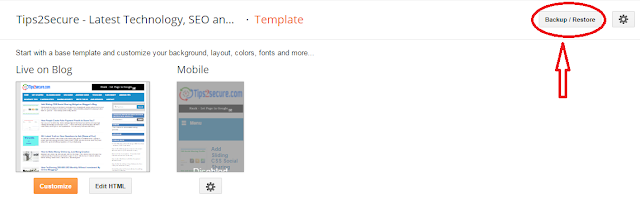 how to create backup of blogger templates