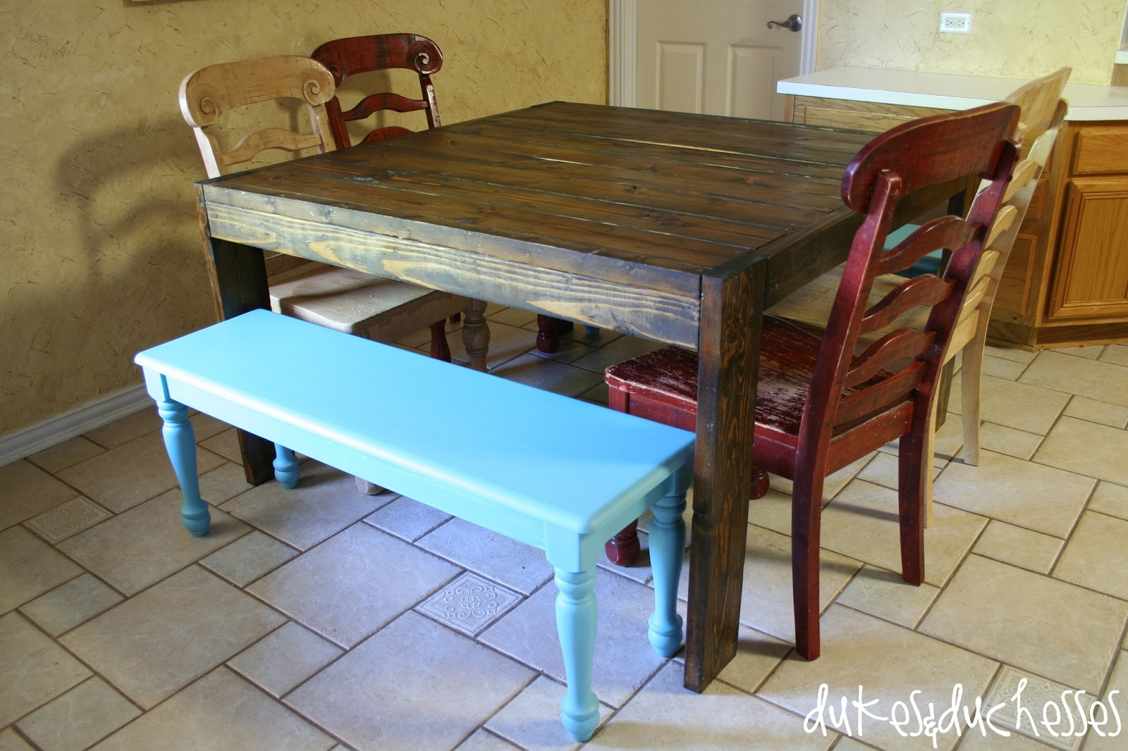Painting with Chalk-Finish Paint {My Kitchen Benches} - Dukes and ...