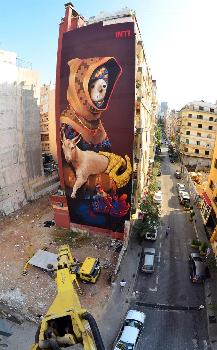 Inti on the streets of beirut lebanon for Mural street art