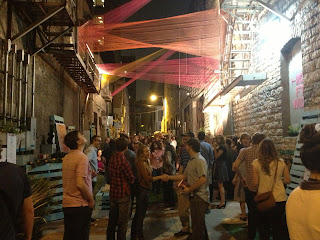 20 ft wide downtown austin alley Fusebox Festival event