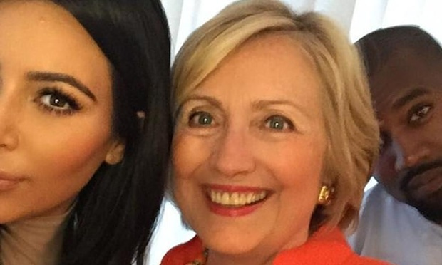 Hillary Clinton with Kim Kardashian