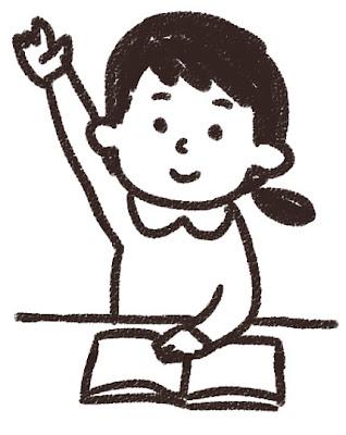 授業中の小学生のイラスト「手を上げている女の子」 白黒線画