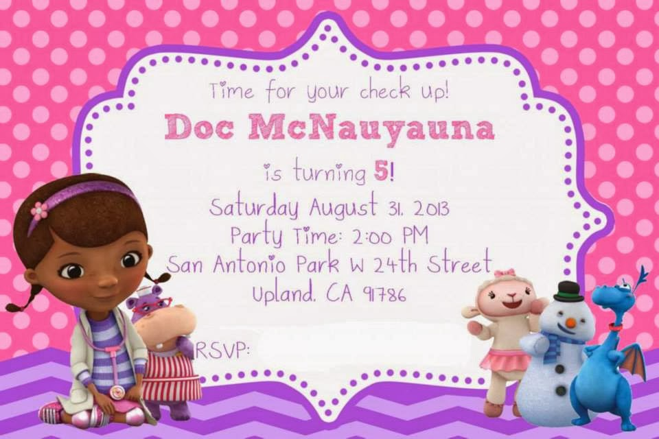 image relating to Doc Mcstuffins Printable Invitations titled Princess 5th Birthday Girly Purple and Pink Document Mcstuffins